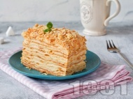 Торта наполеон с бутер тесто и крем ванилия